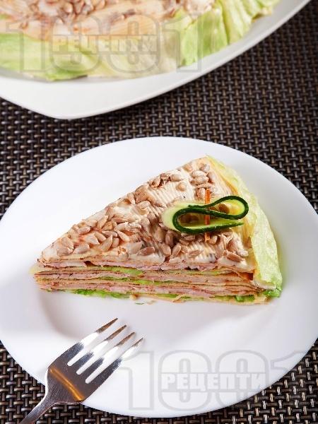 Солена палачинкова торта с бекон и топено сирене - снимка на рецептата